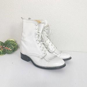 Laredo White Leather Pointed Toe Roper Boots 7.5